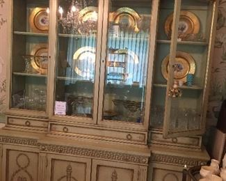 Karges china cabinet with a leather covered brushing slide.   The hand painted finish is what they are known for... Ordered in 1959 !!!