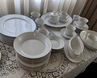 $40  White china with silver trim