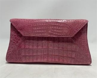 Nancy Gonzales Pink Alligator Clutch
