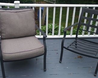 Two of A set of six patio chairs with matching table