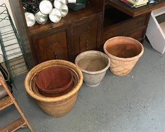 More flowerpots and step ladder