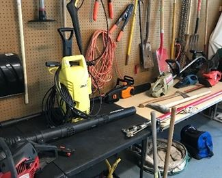 More lawn tools, gas cans and pick axes