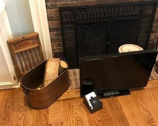 Copper bucket, washboard and 30 inch flatscreen TV