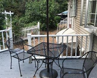 Outdoor patio furniture with umbrella