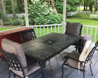 Patio table with six matching chairs