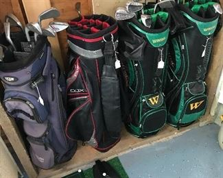 Quality golf bags some with Iron set