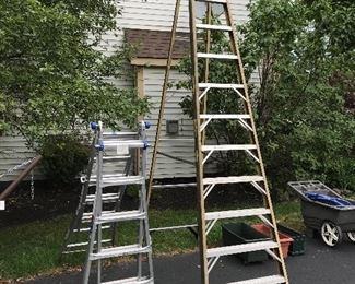 Folding ladder and 20 foot step ladder