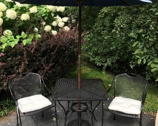 Iron  patio table and chairs and umbrella w/ stand