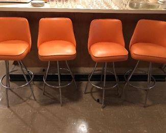 FABULOUS ORANGE BAR STOOLS ( 5)