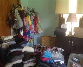 Women's clothes, children's costumes, lamps