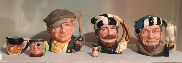 """Toby jugs - 3 big ones are Royal Doulton: The Gardener, Trapper, The Falconer (each 7-8"""" tall)"""