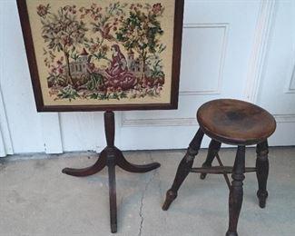 Needlepoint fireplace screen, antique stool