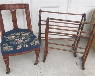 Antique chair with needlepoint seat, quilt racks