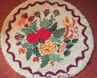 "Handmade 37"" hooked rug - dated 1963"