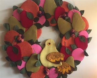 "Groovy 1970s handmade cloth wreath, 25"" diameter (dated 1975 on back)"