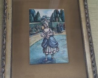 """Antique watercolor of French woman in a garden, dated 1902. Framed size 15"""" x 18.5"""". N.B. Owner's family was originally from New Orleans."""