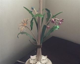 Painted metal table lamp with flowers (Italian?)