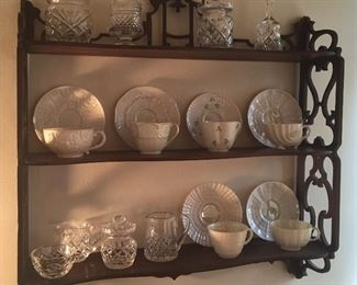 Belleek cups & saucers, Waterford & Galway crystal pieces