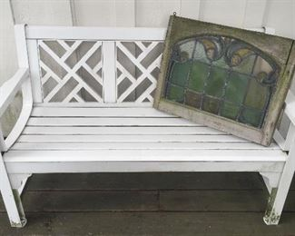 Garden bench (we have 2 alike), funky stained glass window