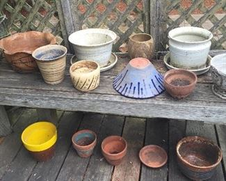 More planters - some hand thrown pottery