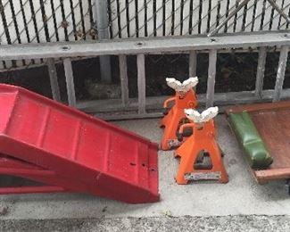 Car ramps, 3-ton jack stands, creeper