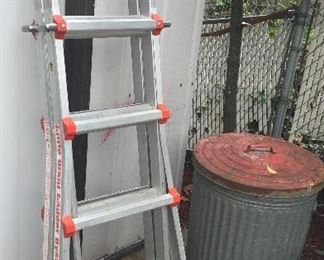 Little Giant ladder (Type 1A), galvanized trash can