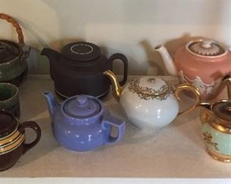Vintage teapots: Japanese Soma ware teapot+ 4 cups with heart cut-outs, others by Sadler, Hall, Hornsea, Bourne Denby Derby & pink Jasper Ware teapot