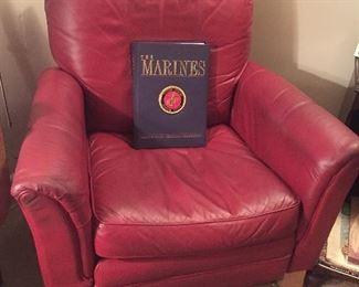 La-Z-Boy red leather recliner
