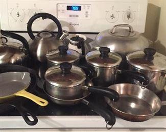 Pots & pans by Revere Ware, yellow Descoware skillet, cast iron skillet, tea kettles