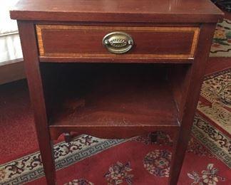 "Vintage mahogany nightstand (28""H, 17""W, 14""D)"