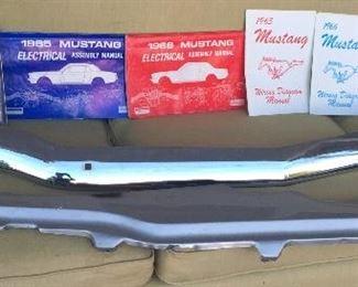 1965 Mustang parts: front bumper, 5 crank window handles, 1 door handle, arm rests, '65 & '66 wiring diagrams (Not shown: 2 Mustang radiators)