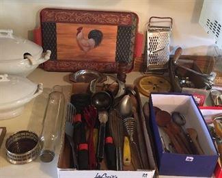 Ironstone tureens, glass rolling pin, kitchen utensils, vintage meat grinder & more