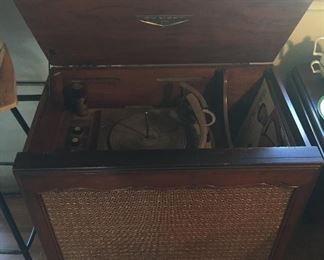 """Vintage Dumont phonograph (record player - 27""""W, 27.5""""L, 17""""D) We also have RECORDS: pop, musicals, a few oddities (not shown)"""