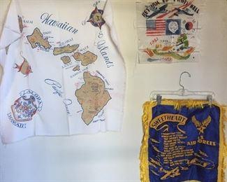 """Vintage textiles: screenprint Hawaii map on silk, 1951 """"Return from Hell"""" Korean War souvenir, """"Sweetheart"""" pillow cover"""