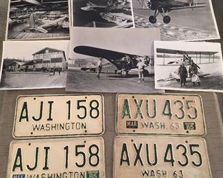 Boeing & airplane photos, vintage license plates