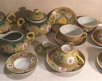 Yellow Chinese Famille Jaune Medallion tea set + bowls