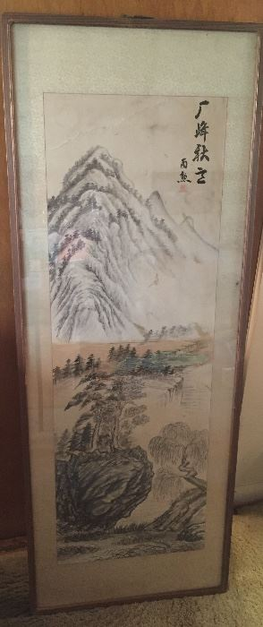 """Chinese scroll painting, framed size 19"""" x 50"""""""