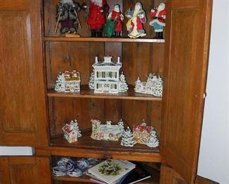 """Vintage Pine Corner cupboard, Lighted """"Snow Houses"""" Signed WB Original, Walter Brockmann - St. Louis pre-Dept 54"""