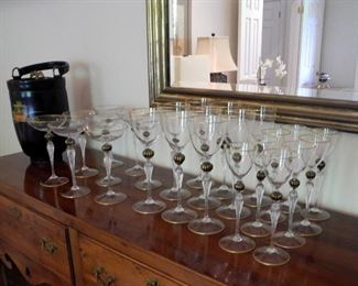 Venetian Glass Water, Wine and Champagne Glasses (8 each), with Black and gold accents