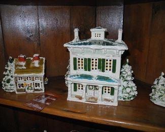 "Lighted ""Snow Houses"" Signed WB Original, Walter Brockmann - St. Louis pre-Dept 54"