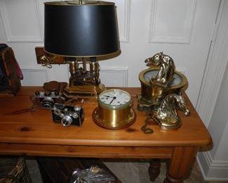 Vintage Cameras, Desk lamp, Barometer, Brass Book ends