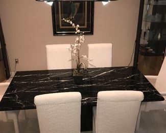 """FORMAL DINING ROOM  BLACK & WHITE ITALIAN MARBLE TABLE WITH 6 UPHOLSTERED CREAM CHAIRS  78.5"""" LENGTH x 39""""WIDTH x 28.5"""" HEIGHT"""