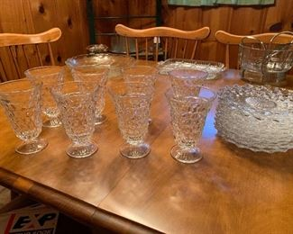 Fostoria set of 8 glasses and desert plates