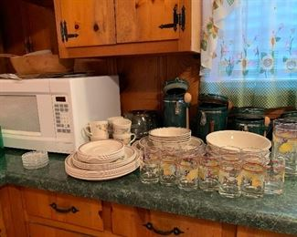 Microwave, Corelle dishes and glasses, four canisters