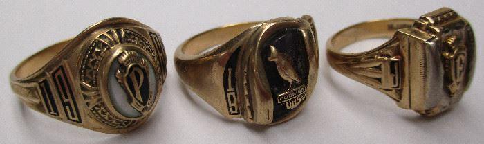 3 gold school rings