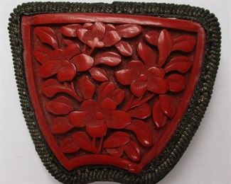 Chinese caved cinnabar and silver pin