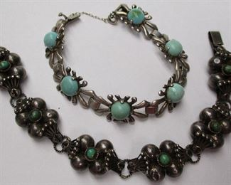 Sterling and turquoise bracelets
