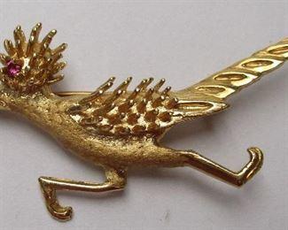 14k gold bird pin
