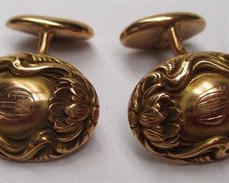Art Nouveau 14k gold cuff links