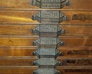 antique Hamilton Mfg printer's cabinet